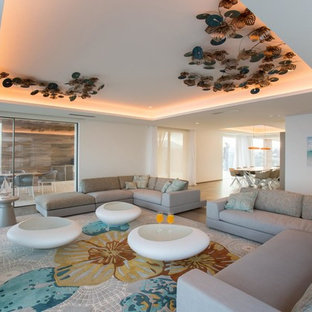 Imagen de salón para visitas contemporáneo con paredes blancas
