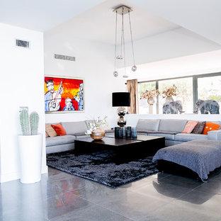 Modelo de salón contemporáneo con paredes blancas, chimenea de doble cara y suelo gris