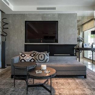 Exempel på ett stort modernt allrum med öppen planlösning, med ett finrum, vita väggar, klinkergolv i porslin och en väggmonterad TV