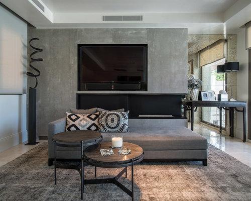 Fotos de salones dise os de salones con televisor - Chimeneas grandes dimensiones ...