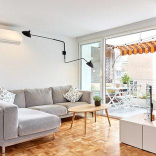 Ejemplo de salón actual con paredes blancas, suelo de madera en tonos medios, televisor independiente y suelo marrón