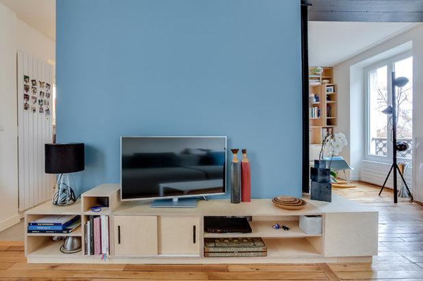 houzz tour plywood blir nytt ledord i en klassiskt sk n paris l genhet. Black Bedroom Furniture Sets. Home Design Ideas