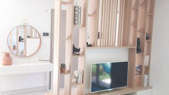 Agencement sur mesure - espace entrée/salon