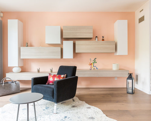 salon avec un mur orange photos et id es d co de salons. Black Bedroom Furniture Sets. Home Design Ideas