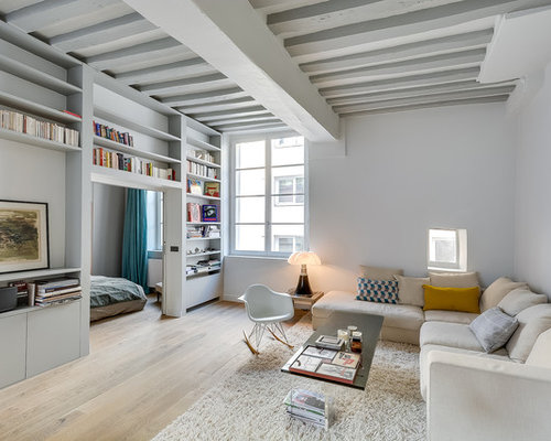 Large Danish Open Concept Light Wood Floor Living Room Library Photo In Paris With White Walls