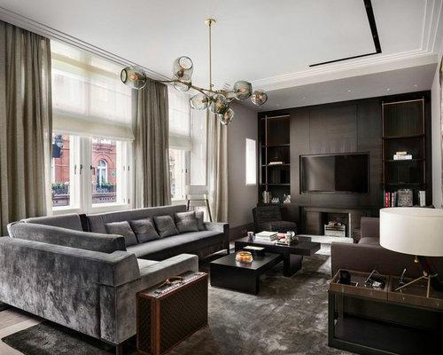 dark gray sectional sofa wohnideen & einrichtungsideen | houzz, Wohnzimmer dekoo