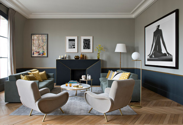 Transitional Living Room by Fanny Prat - Architecte d'intérieur