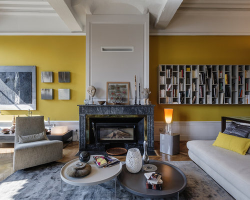 salon avec un mur jaune photos et id es d co de salons. Black Bedroom Furniture Sets. Home Design Ideas