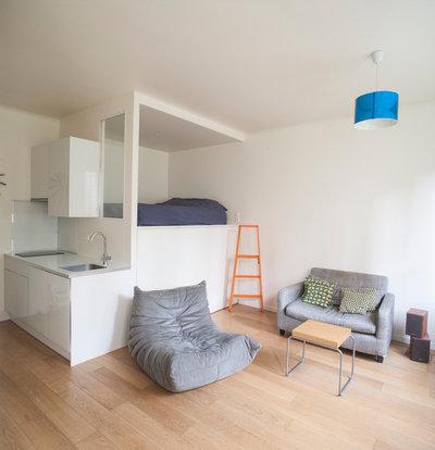 avant apr s un lit en alc ve optimise un studio parisien de 28 m. Black Bedroom Furniture Sets. Home Design Ideas
