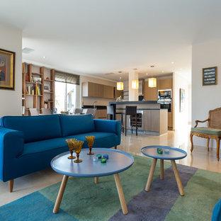 Aménagement d'un salon éclectique de taille moyenne et ouvert avec une salle de réception, un mur blanc et aucun téléviseur.