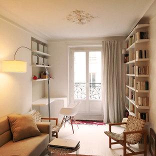 他の地域の小さいコンテンポラリースタイルのおしゃれなLDK (ライブラリー、白い壁、テレビなし、暖炉なし、白い床) の写真