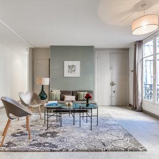Idées déco pour un grand salon classique ouvert avec un mur vert, un sol en carrelage de céramique, aucune cheminée, aucun téléviseur et une salle de réception.