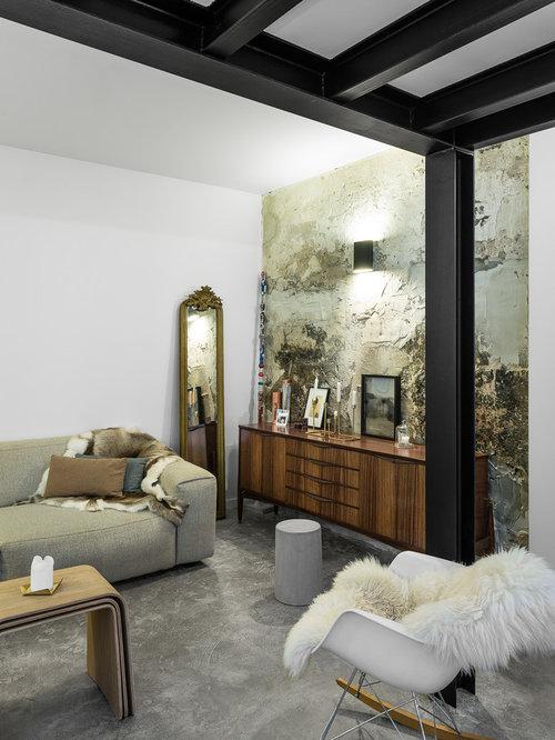 gro e industrial wohnzimmer ideen design bilder houzz. Black Bedroom Furniture Sets. Home Design Ideas