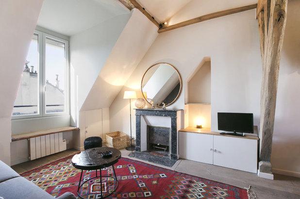 visite priv e esprit chalet dans un studio parisien de 30 m. Black Bedroom Furniture Sets. Home Design Ideas