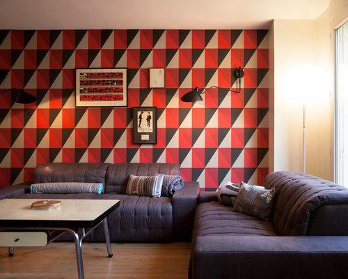 Salon industriel photos et id es d co de salons - Quel papier peint avec meuble merisier ...