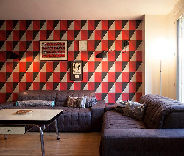 10 papiers peints graphiques pour le salon - Idee deco salon papier peint ...