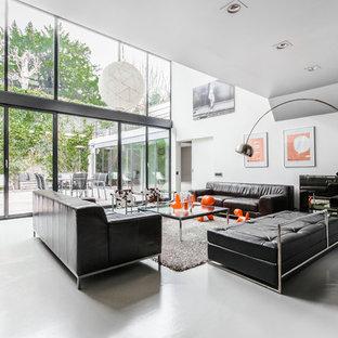 Exemple d'un salon tendance avec un mur blanc et un sol gris.