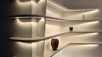 Bibliothèque laque blanc. Retro éclairage LED