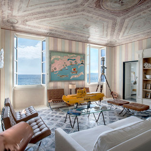 Photo of a beach style formal living room in Milan with multi-coloured walls and no fireplace.