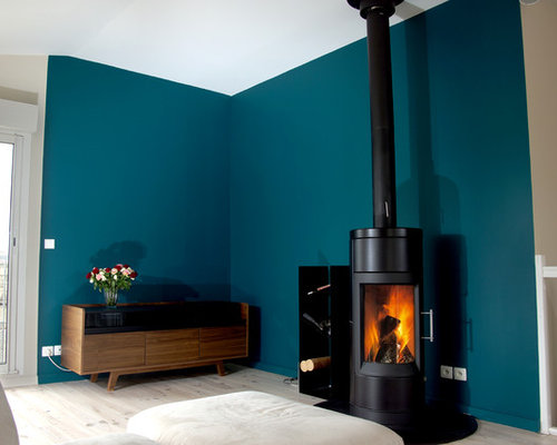 images de d coration et id es d co de maisons mur bleu canard. Black Bedroom Furniture Sets. Home Design Ideas