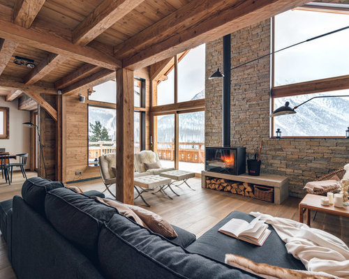 Example Of A Mid Sized Mountain Style Open Concept Living Room Design In Toulouse With