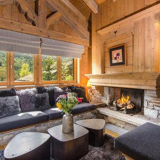 Exemple d'un salon montagne avec une cheminée standard et un manteau de cheminée en pierre.