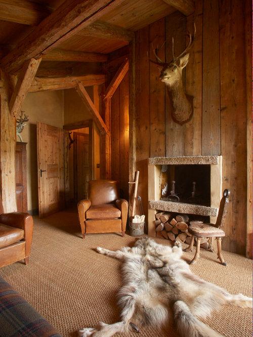 Deco chambre chalet montagne cot salon avec tv cran plat canap confort dcoration soigne vue sur - Chambre adulte style montagne ...