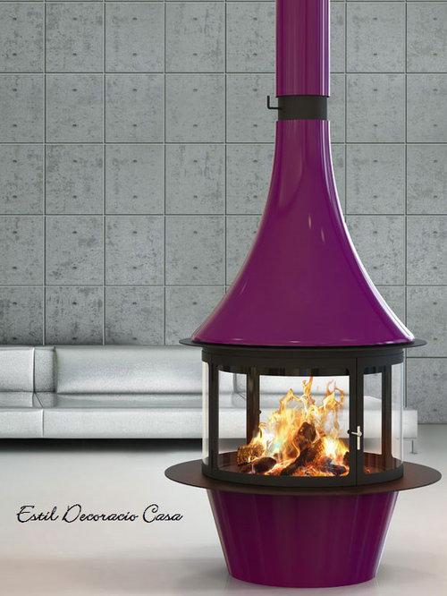 Une collection de cheminée centrale, cheminée de face , cheminée coin
