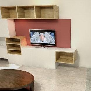 Salon moderne avec un poêle à bois : Photos et idées déco de salons