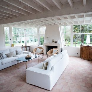 Idée de décoration pour un salon marin avec un mur blanc, un sol en carreau de terre cuite, une cheminée standard, un manteau de cheminée en pierre et un sol rose.