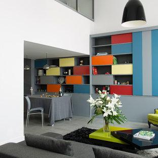 inspiration pour un salon avec une bibliothque ou un coin lecture design ouvert et de taille