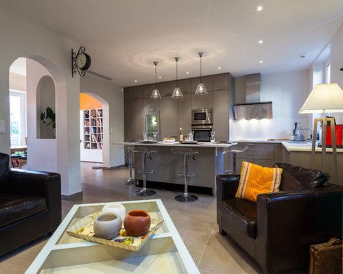 ralisation dun grand salon design ouvert avec une salle de rception un mur - Salon Avec Carrelage Blanc
