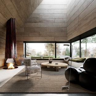 Ejemplo de salón actual con paredes marrones, suelo de cemento, estufa de leña y suelo gris