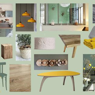 Idee per un soggiorno mediterraneo di medie dimensioni e aperto con pavimento in vinile, TV autoportante e pavimento beige
