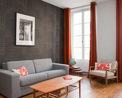 Idées Déco Pour Un Salon Contemporain De Taille Moyenne Et Ouvert Avec Un  Mur Noir,