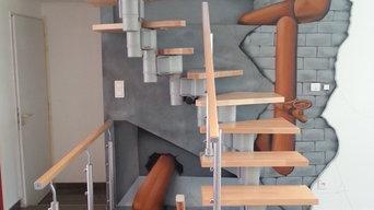 Decoration cage d'escalier particulier villa