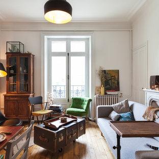 Offenes, Mittelgroßes, Fernseherloses Stilmix Wohnzimmer mit weißer Wandfarbe, braunem Holzboden, Kamin und Kaminsims aus Stein in Rennes