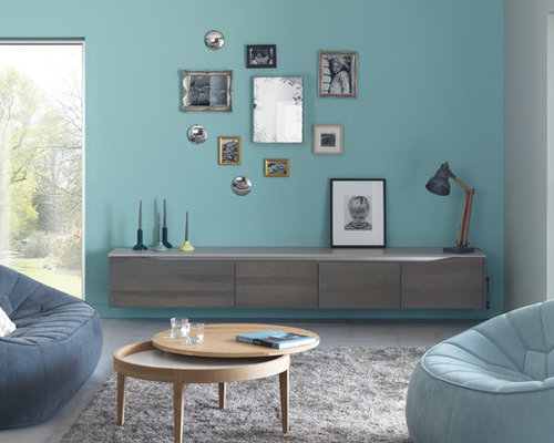 Salon scandinave avec un mur bleu photos et id es d co for Salon scandinave bleu