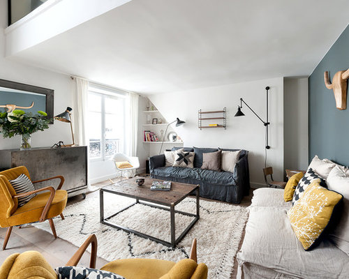 this is an example of a large industrial living room in paris with a
