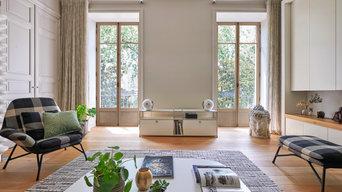 Fenêtres en chêne naturel, salon style haussmann