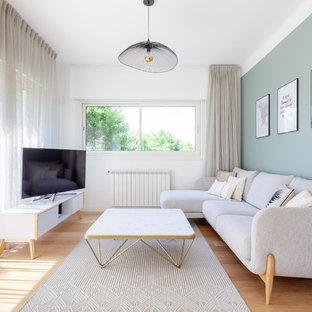 Salon Scandinave Avec Un Mur Vert Photos Et Idées Déco De Salons