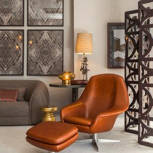 Réalisation d'un salon vintage de taille moyenne et fermé avec une salle de réception et moquette.