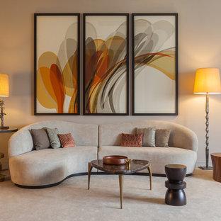 Idée de décoration pour un salon de taille moyenne et fermé avec une salle de réception, un mur beige et moquette.