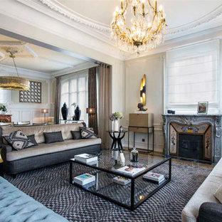 Idées déco pour un très grand salon classique ouvert avec une salle de réception, un mur gris, une cheminée standard, un manteau de cheminée en pierre et aucun téléviseur.