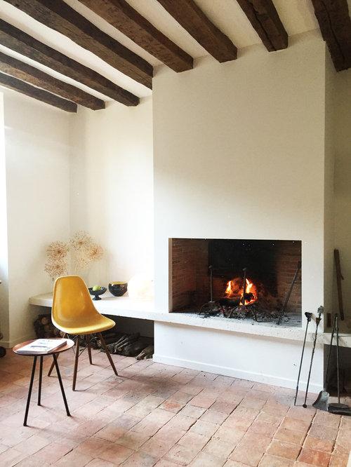 salon avec un sol en carreau de terre cuite : photos et idées déco ... - Decoration Maison Avec Tomettes