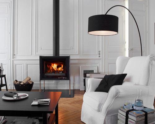 salon avec un po le bois photos et id es d co de salons. Black Bedroom Furniture Sets. Home Design Ideas