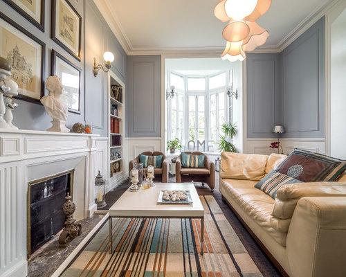 Salon avec un manteau de cheminée en pierre : Photos et idées déco ...