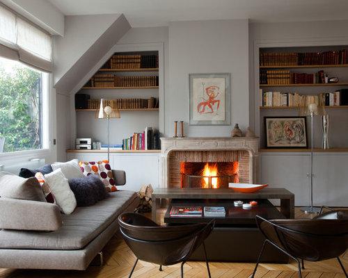 Salon avec un manteau de cheminée en brique : Photos et idées déco ...