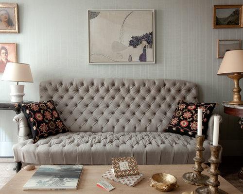 Salon classique avec un mur bleu : Photos et idées déco de salons