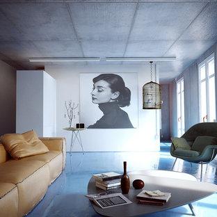 Cette photo montre un grand salon tendance ouvert avec une salle de réception, un mur gris, béton au sol, aucune cheminée et aucun téléviseur.